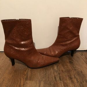 Shoes - Embossed Leather Boots
